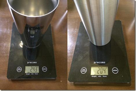 山善とサーモスの重さ比較