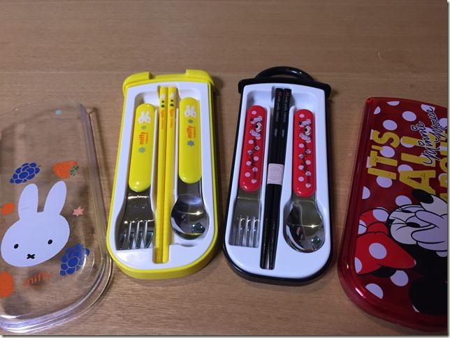 スライド式のお箸セット。キャラクタートリオセットの造りの違い。